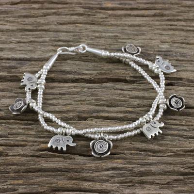 200c98ffb1fa3 Karen Silver Floral Elephant Charm Bracelet from Thailand, 'Elephant  Flowers'