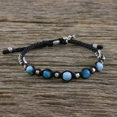 Agate cord bracelet, 'Cerulean Moon' - Blue Agate and Karen Hill Tribe Silver Unisex Cord Bracelet