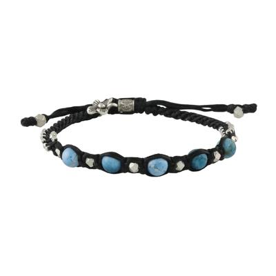 Blue Agate and Karen Hill Tribe Silver Unisex Cord Bracelet