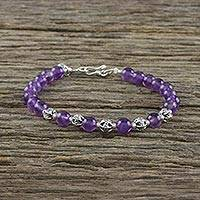 Amethyst beaded bracelet, 'Lavender River' - Lavender River Sterling Silver and Amethyst Beaded Bracelet