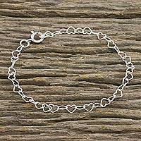Sterling silver link bracelet, Lots of Love