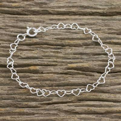 Sterling silver link bracelet, 'Lots of Love' - Heart Motif Sterling Silver Link Bracelet from Thailand