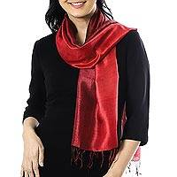 Silk scarf, 'Ruby Love' - Ruby Red Tie-Dyed Handwoven Silk Scarf with Fringe