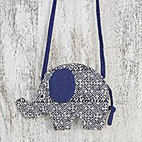 Cotton sling, 'Energetic Elephant' - Handmade Elephant Shaped Cotton Sling in Blue from Thailand