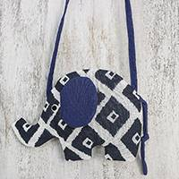 Cotton sling, 'Spirited Elephant' - Thai Blue Patterned Cotton Sling with Elephant Shape