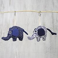 Cotton keychains, 'Elephant Chums' (pair) - Handmade 100% Cotton Elephant Keychains from Thailand (Pair)