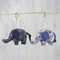 Cotton keychains, 'Elephant Pals' (pair) - Elephant Shaped Keychains in Blue Patterned Cotton (Pair)