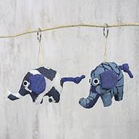 Cotton keychains, 'Elephant Playmates' (pair) - Thai Handcrafted Elephant Cotton Keychains in Blue (Pair)