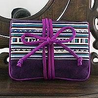Applique jewelry roll, 'Lisu Jewels' - Hill Tribe Applique Jewelry Roll in Purple from Thailand