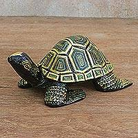 Wood statuette, 'Regal Turtle' - Hand-Painted Gold-Tone Wood Turtle Statuette from Thailand