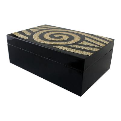 Eye Motif Wood Mosaic Decorative Box from Thailand