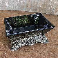 Wood catchall, 'Attractive Chic' - Wood Mosaic Catchall Handcrafted in Thailand