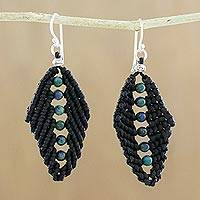 Azure-malachite dangle earrings, 'Braided Leaves' - Azurite Beaded Dangle Earrings from Thailand