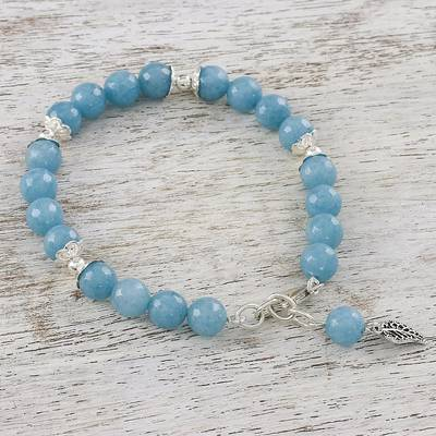 Chalcedony beaded bracelet, 'Gentle Sky' - Light Blue Chalcedony Sterling Silver Gentle Sky Bracelet