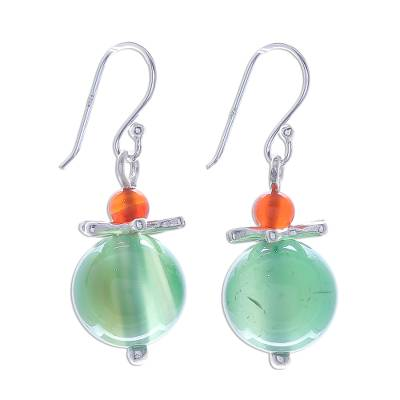 Artisan Crafted Green Chalcedony Silver Dangle Earring