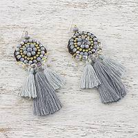 Glass beaded dangle earrings, 'Joyful Swing in Grey' - Grey Glass and Brass Bead Dangle Earrings with Grey Tassels