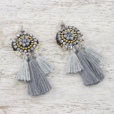 8203298d14bcc Grey Glass and Brass Bead Dangle Earrings with Grey Tassels, 'Joyful Swing  in Grey'