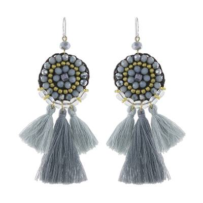 Grey Glass and Brass Bead Dangle Earrings with Grey Tassels