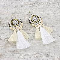 Glass beaded dangle earrings, 'Joyful Swing in White' - Calcite Grey Glass and Brass Bead Tasseled Dangle Earrings