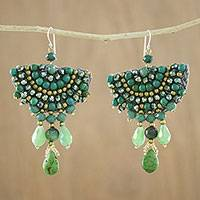 Quartz beaded dangle earrings, 'Joyful Meadow' - Green Calcite Quartz Glass Bead Fan-Shaped Dangle Earrings