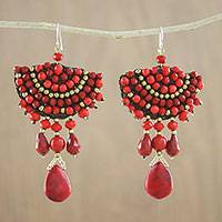 Glass beaded dangle earrings, 'Joyful Fire' - Red Calcite Glass Bead Fan-Shaped Dangle Earrings