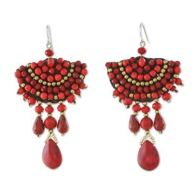 Red Calcite Glass Bead Fan-Shaped Dangle Earrings