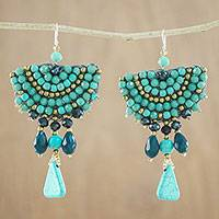 Glass beaded dangle earrings, 'Peacock Princess' - Turquoise Calcite Blue Glass Bead Fan-Shaped Dangle Earrings