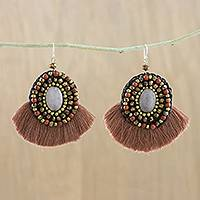 Quartz and jasper dangle earrings, 'Hula Skirt' - Brown Fringe Quartz Jasper and Brass Bead Dangle Earrings