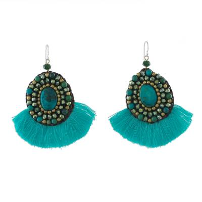 Turquoise Fringe Serpentine and Brass Bead Dangle Earrings