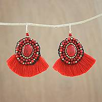 Glass beaded dangle earrings, 'Electric' - Handcrafted Red Fringe Calcite Brass Bead Dangle Earrings