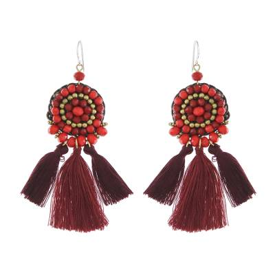 Dangle Earrings of Red Calcite and Glass Beads Plus Tassels
