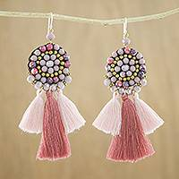 Agate dangle earrings, 'Playful Tassels in Pink' - Dangle Earrings of Pink Agate and Glass Beads plus Tassels