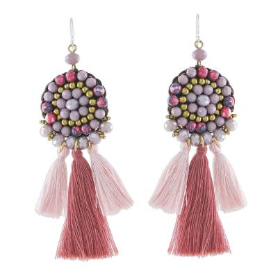 Dangle Earrings of Pink Agate and Glass Beads plus Tassels