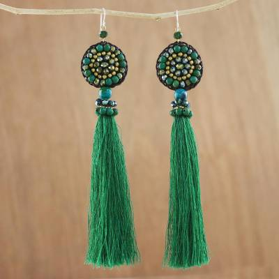 Serpentine beaded dangle earrings, 'Dance With Me' - Handmade Green Serpentine Cotton Tassel Dangle Earrings