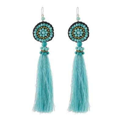 Long Tassel Blue Calcite and Glass Bead Dangle Earrings