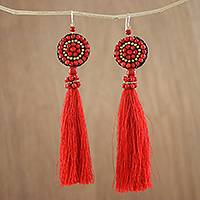Calcite dangle earrings, 'Dance With Me in Red' - Long Tassel Red Calcite and Glass Bead Dangle Earrings