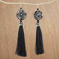 Agate and onyx dangle earrings, 'Dance With Me in Black' - Long Tassel Black Calcite and Glass Bead Dangle Earrings