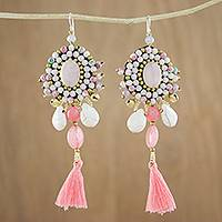 Agate and quartz dangle earrings, 'Ballroom Chic in Pink' - Pink Quartz Agate Glass Beaded Oval Tassel Dangle Earrings