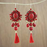 Calcite dangle earrings, 'Ballroom Chic in Red' - Red Calcite and Glass Beaded Oval Tassel Dangle Earrings