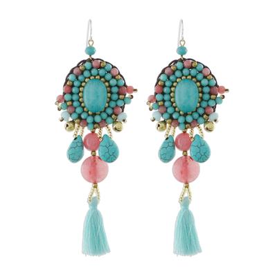 Pink Quartz Blue Calcite Beaded Oval Tassel Dangle Earrings
