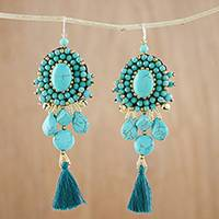 Calcite dangle earrings, 'Ballroom Chic in Turquoise' - Turquoise Blue Calcite Beaded Oval Tassel Dangle Earrings