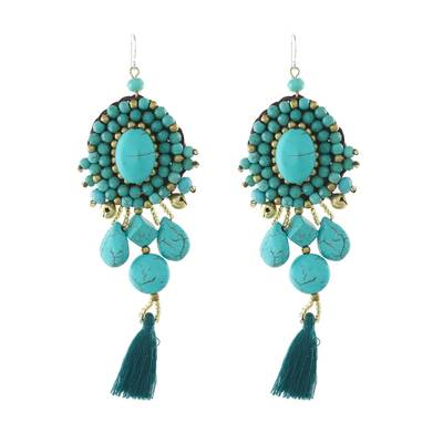 Calcite dangle earrings, 'Ballroom Chic in Turquoise' - Turquoise Blue Calcite Beaded Oval Tassel Dangle Earrings