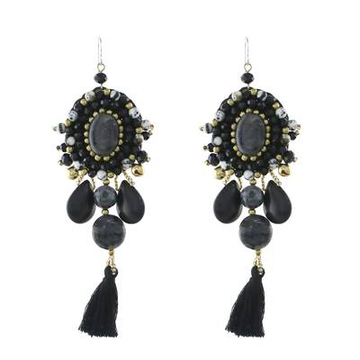Black Quartz Agate Onyx Beaded Oval Tassel Dangle Earrings