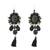 Multi-gemstone dangle earrings, 'Ballroom Chic in Black' - Black Quartz Agate Onyx Beaded Oval Tassel Dangle Earrings (image 2a) thumbail