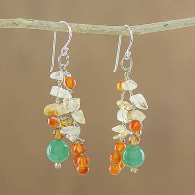Multi-gemstone cluster earrings, 'Vivacious Color' - Multi-Gemstone Cluster Sterling Silver Dangle Earrings