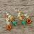 Multi-gemstone cluster earrings, 'Vivacious Color' - Multi-Gemstone Cluster Sterling Silver Dangle Earrings (image 2b) thumbail
