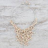 Cultured pearl statement necklace, 'Warm Moonlight' - Peach Cultured Pearl Cascade Handcrafted Statement Necklace