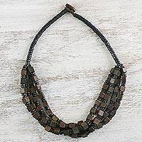 Wood beaded necklace, 'Earthy Geometry' - Brown Cube and Black Disc Wood Multi-Strand Beaded Necklace