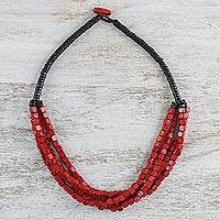 Wood beaded necklace, 'Caged Fire' - Red Cube and Black Disc Wood Multi-Strand Beaded Necklace