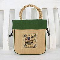 Cotton handle handbag, 'Graceful Elephant in Green' - Elephant Cotton Handle Handbag in Green from Thailand